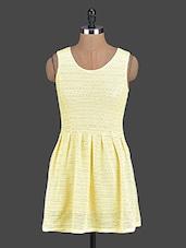 Yellow Lace Sleeveless Fit & Flare Dress - PINK LACE
