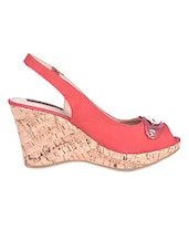 Metal Trim Sling Back Red Peep Toe Wedges - Flat N Heels