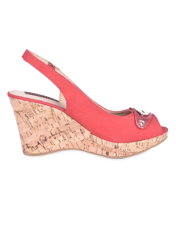 Metal Trim Sling Back Red Peep Toe Wedges - Flat N Heels