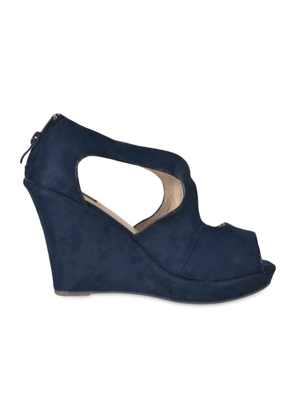 Peep Toe Blue Suede Wedges - Flat N Heels
