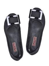 Trim Embellished Black Leatherette Ballerinas - Flat N Heels