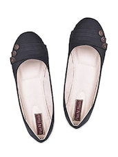 Button Embellished Black Leatherette Ballerinas - Flat N Heels