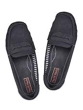 Black Leatherette Loafers - Flat N Heels