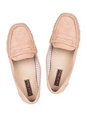 Beige Leatherette Loafers - Flat N Heels
