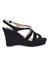 Buckle Lace Black Strapy Wedges - Flat N Heels