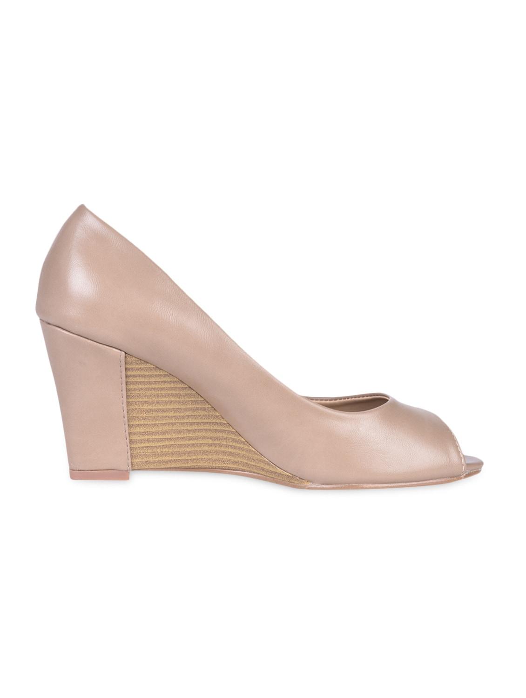 Solid Beige Peep Toe Wedges - Flat N Heels