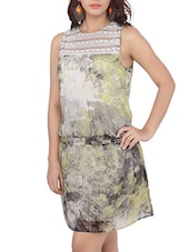 Sleeveless Lace Yoke Printed Dress - Liwa