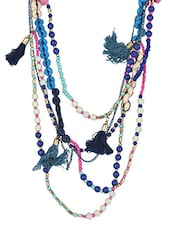 Multicolor Beads Metallic Necklace - By