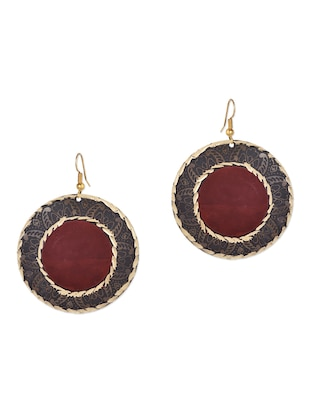 Red beads metallic earrings  -  online shopping for earrings