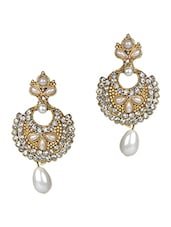 Gold Metallic Stones And Pearl Drop Earrings - By