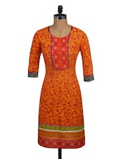 Floral Printed Orange Cotton Kurta - Mytri