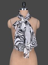Monochrome Printed Poly Georgette Scarf - Red Lorry