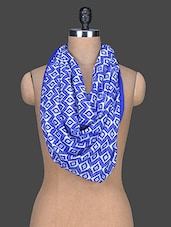 Blue Printed Polyester Scarf - Red Lorry
