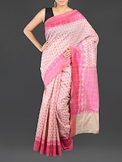 Patterned Pink Cotton Banarasi Saree - WEAVING ROOTS