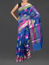 Blue Floral Cotton Banarasi Saree - WEAVING ROOTS