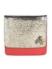 Shimmery Flap Red Leather Sling Bag - SAISHA