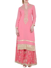 peach georgette embroidered long kurta -  online shopping for kurtas