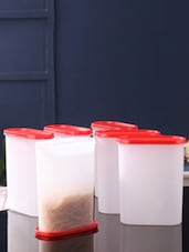 Tallboy Mahaware Space Saver White and Red Oval 2400 ml Jar - Set of 6 -  online shopping for Containers