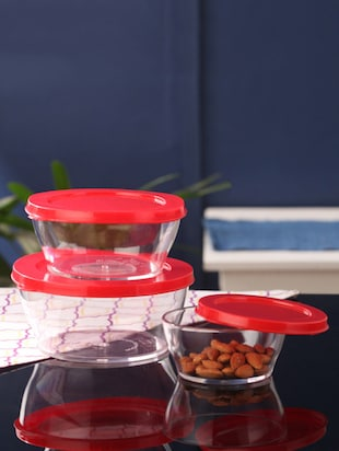 Tallboy Mahaware Red Polypropylene Round Bowl with Lid - Set of 3 -  online shopping for Containers