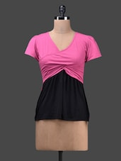 Pink V-neck Cotton Knit Top - Glam And Luxe