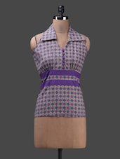 Purple Sleeveless Collared Cotton Top - Glam And Luxe