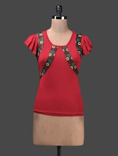Red Viscose Lycra Knit Top - Glam And Luxe