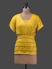 Polka Yellow Cotton Knit Top - Glam And Luxe
