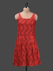 Red Lace Sleeveless Polyester Dress - Glam And Luxe