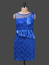 Royal Blue Poly Satin Net Cotton Dress - Glam And Luxe