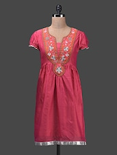 Embroidered Pink Raw Silk Cotton Kurta - Glam And Luxe