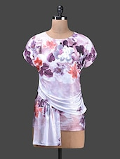 Multicolour Floral Poly Knit Round Neck Top - Glam And Luxe