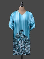 Blue Poly Knit Printed Shift Dress - Glam And Luxe