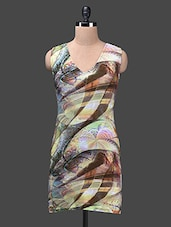 Multicolour Printed Poly Knit Sleeveless Dress - Glam And Luxe
