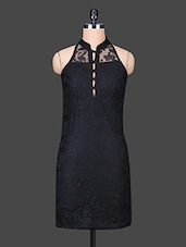 Black Lace Yoke Sleeveless Dress - Trend Arrest