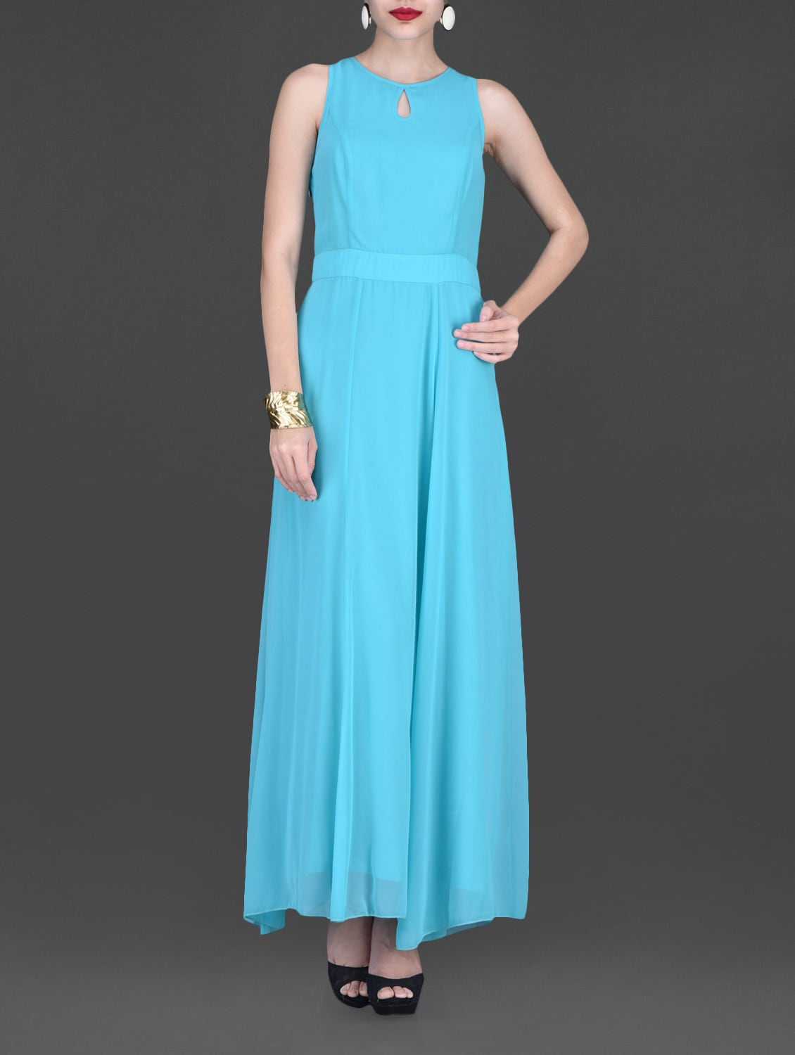 Sky Blue Sleeveless Maxi Dress - By