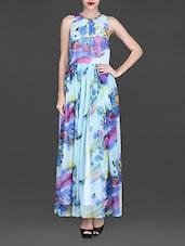 Sky Blue Printed Sleeveless Maxi Dress - By
