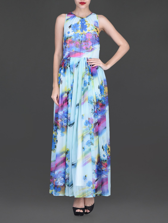 Sky Blue Printed Sleeveless Maxi Dress - By