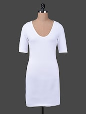 White Cotton Spandex Knit Round Neck Long Top - Finesse