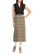 Floral Printed Sleeveless Long Kurta - Jainish