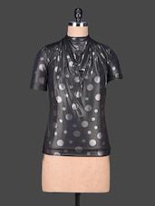 Black Short Sleeve Printed Polyester Top - SPECIES