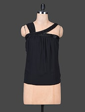 Black Casual Sleeveless Multi Blend Solid Top - SPECIES