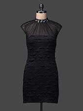 Black High Neck Spandex Polyester Dress - SPECIES