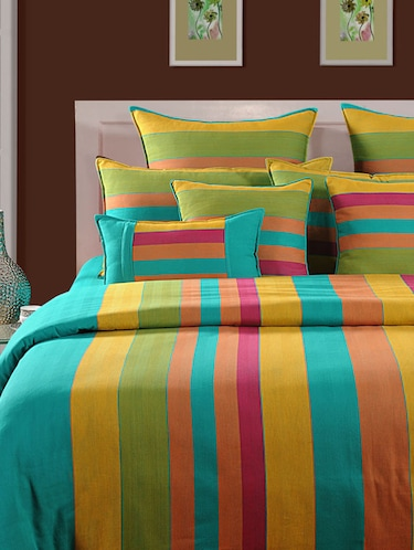 Green and Yellow Stripes Cotton Bed Sheet with Pillow Covers - 11493299 - Standard Image - 1