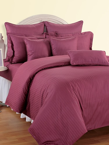 Self Striped Bed Sheet with Pillow Covers - 11493466 - Standard Image - 1