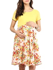 Yellow Floral Printed Poly-georgette Maternity Dress - Mine4Nine