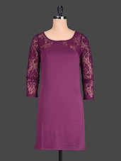 Pink Plain Trimmed Lace Polyester Dress - @ 499