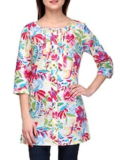Quarter Sleeves Floral Print Tunic - Stilestreet - 1149542