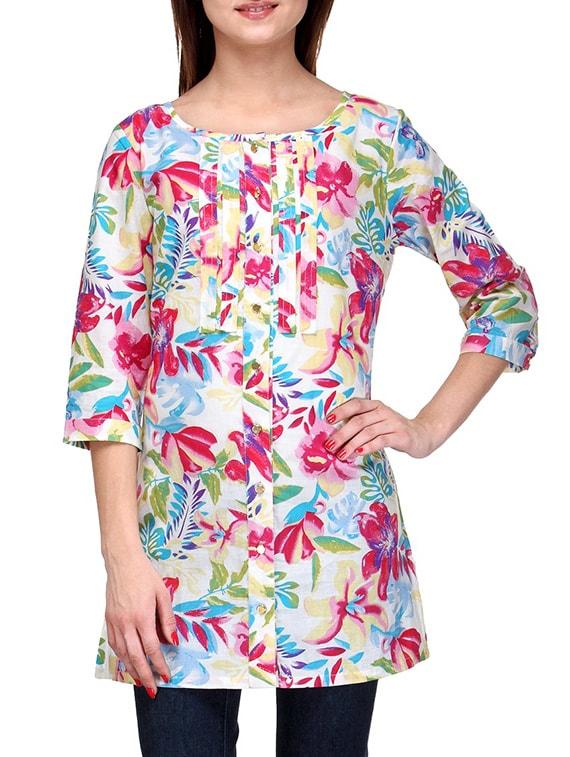 Quarter Sleeves Floral Print Tunic - Stilestreet - 1149542