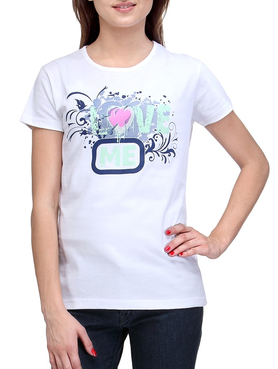 White Round Neck Printed T-shirt - By