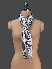 White Printed Cotton Blend Stole - J STYLE